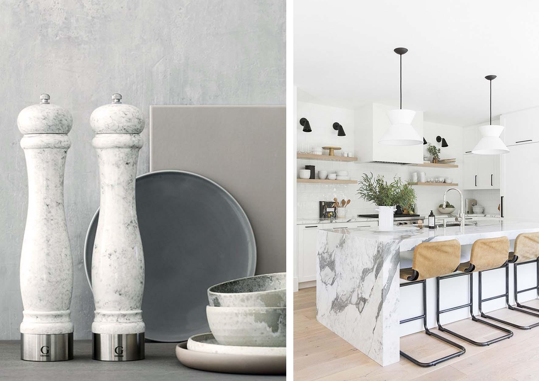 decoración con mármol en cocina